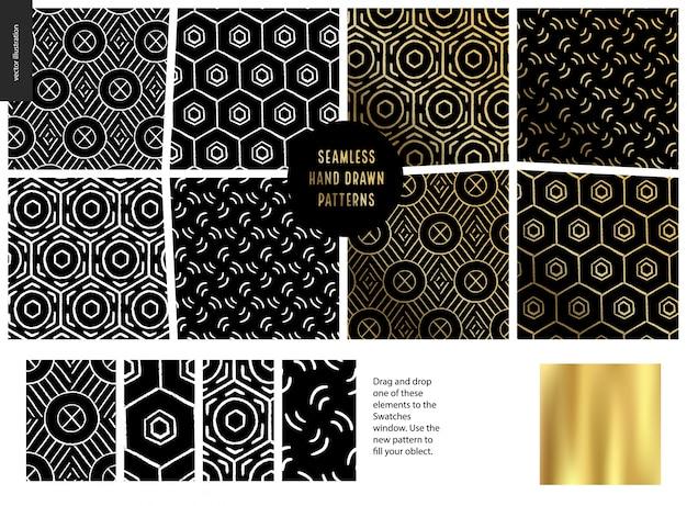 Hand getrokken patronen - zwart