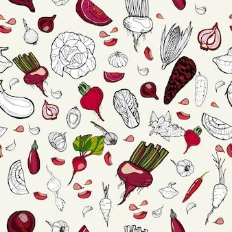 Hand getrokken patroon groenten.
