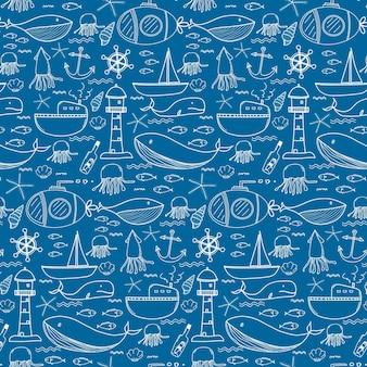 Hand getrokken patroon met zee achtergrond