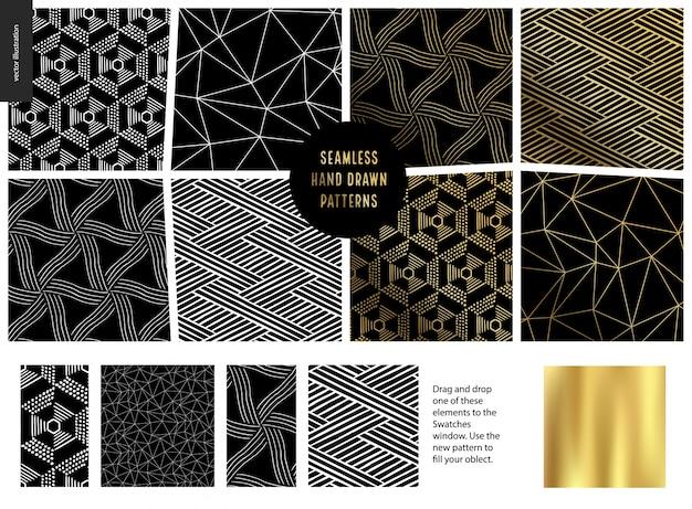 Hand getrokken patroon set