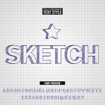 Hand getrokken pen schets tekst lettertype effect collectie set