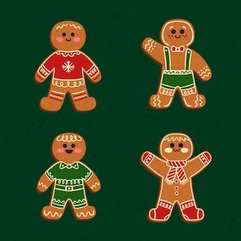 Hand getrokken peperkoek man cookie-set