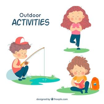 Hand getrokken personages doen open lucht recreatieve activiteiten