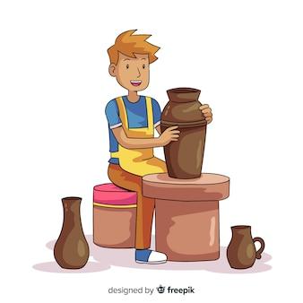 Hand getrokken persoon die aardewerk maakt