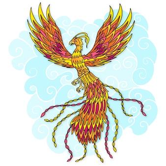 Hand getrokken phoenix vogel en wolken