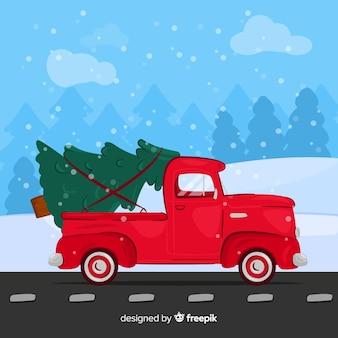 Hand getrokken pick-up met kerstboom
