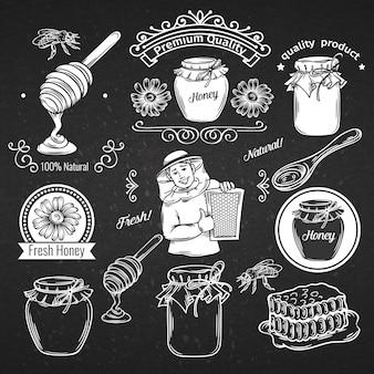 Hand getrokken pictogram en label honing instellen