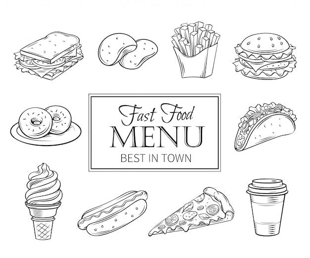 Hand getrokken pictogrammen fastfood.
