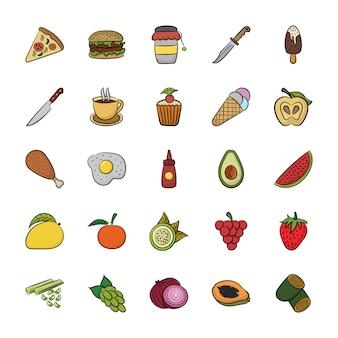 Hand getrokken pictogrammen van voedsel