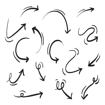 Hand getrokken pijlen pictogrammen instellen geïsoleerd op wit