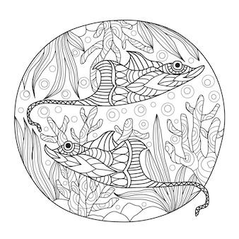 Hand getrokken pijlstaartroggen onder de zee