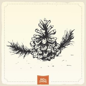 Hand getrokken pine cone