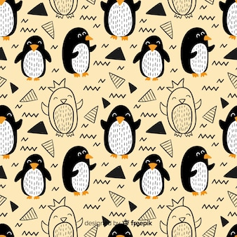 Hand getrokken pinguïn doodle patroon