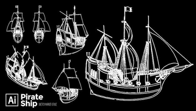 Hand getrokken piratenschip set