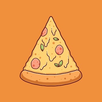 Hand getrokken pizza illustratie ontwerp vector