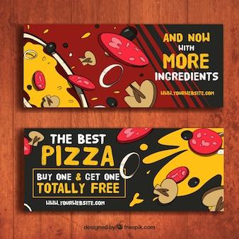 Hand getrokken pizzeria banners