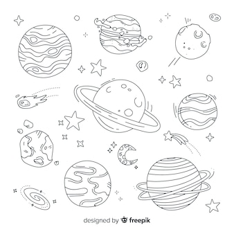 Hand getrokken planeet collectie in doodle stijl