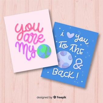 Hand getrokken planeet valentijn kaart