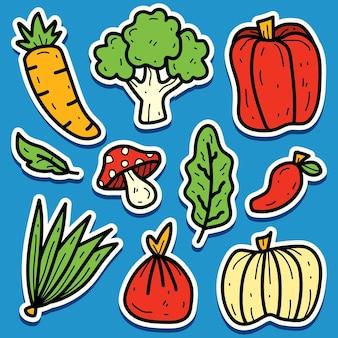 Hand getrokken plantaardige doodle sticker ontwerp