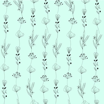 Hand getrokken planten patroon achtergrond
