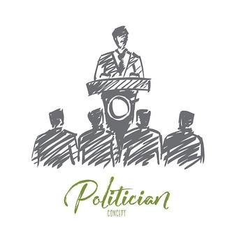 Hand getrokken politicus concept schets