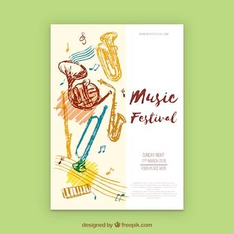 Hand getrokken poster concept voor muziek feestje