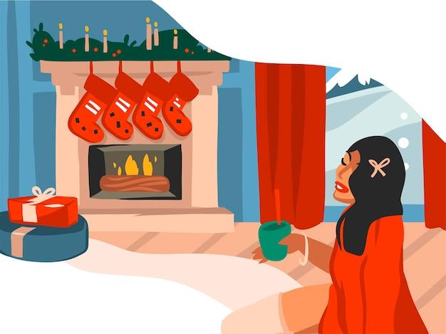 Hand getrokken prettige kerstdagen en gelukkig nieuwjaar cartoon feestelijke illustraties van ingerichte open haard in vakantiehuis interieur geïsoleerd