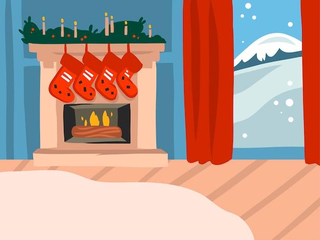Hand getrokken prettige kerstdagen en gelukkig nieuwjaar cartoon feestelijke illustraties