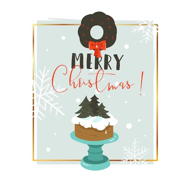 Hand getrokken prettige kerstdagen en gelukkig nieuwjaar tijd cartoon illustraties groet koptekst sjabloon met kerst cake en typografie tekst geïsoleerd