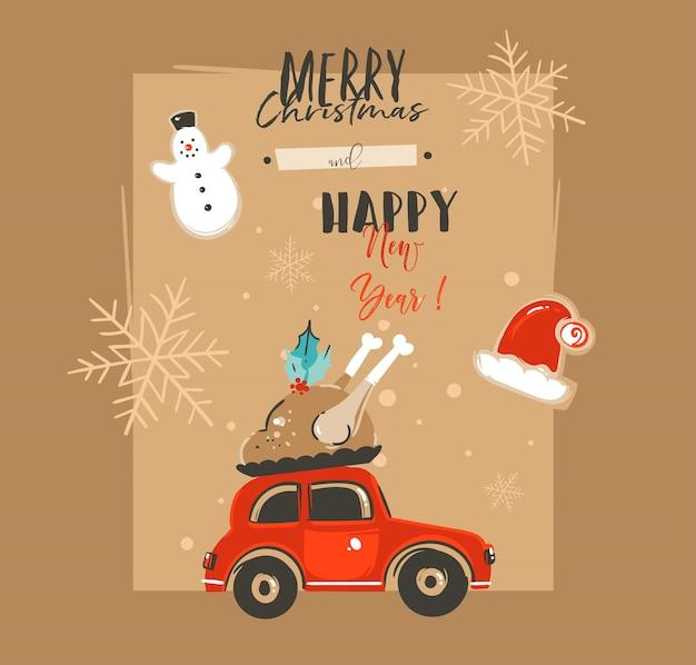 Hand getrokken prettige kerstdagen en gelukkig nieuwjaar tijd vintage cartoon illustraties tag wenskaartsjabloon met auto en peperkoek cookies geïsoleerd