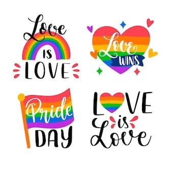 Hand getrokken pride-daglabelcollectie