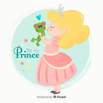 Hand getrokken prinses kussende kikker
