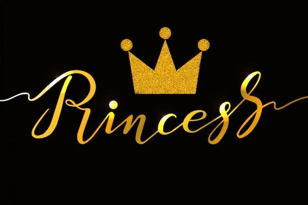 Hand getrokken prinses typografie belettering van ontwerp