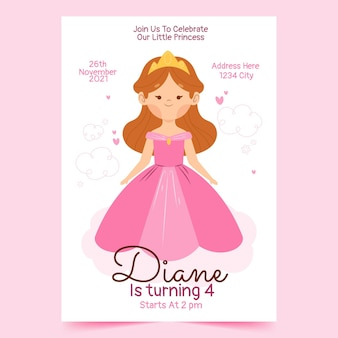 Hand getrokken prinses verjaardag uitnodiging sjabloon
