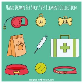 Hand getrokken punt verzameling van de veterinaire