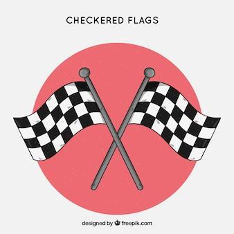 Hand getrokken race geruite vlaggen