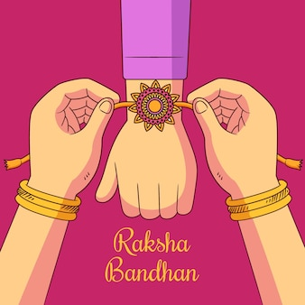 Hand getrokken raksha bandhan