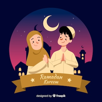 Hand getrokken ramadan achtergrond