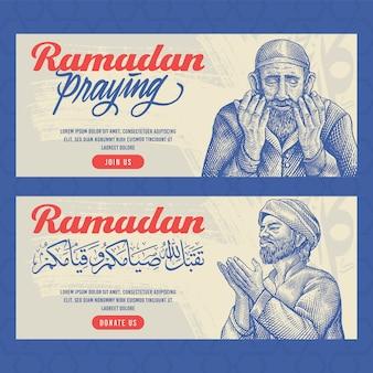 Hand getrokken ramadan kareem banners met gravure illustratie van oude man bidden