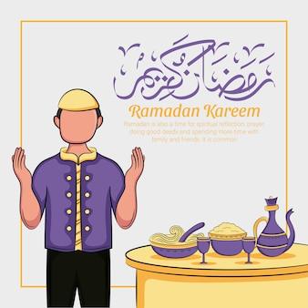 Hand getrokken ramadan kareem of eid al fitr dagen groet