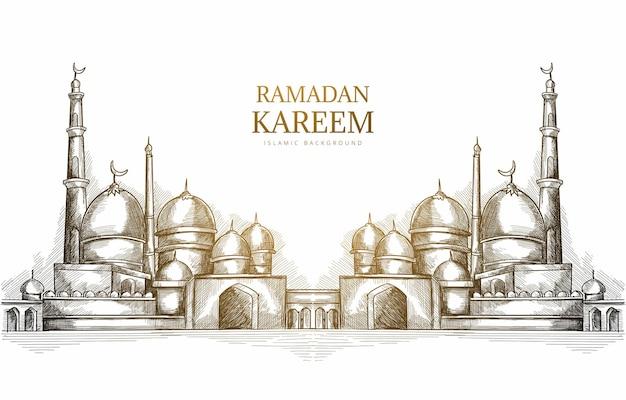 Hand getrokken ramadan kareem wenskaart met moskee schets