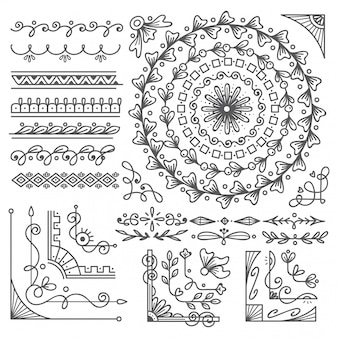 Hand getrokken rand en frame, bruiloft kaart ontwerpelement