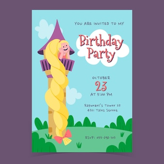 Hand getrokken rapunzel verjaardag uitnodiging sjabloon