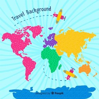 Hand getrokken reisachtergrond