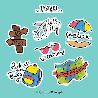 Hand getrokken reizen sticker collectie