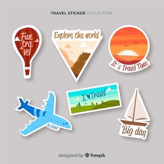 Hand getrokken reizen sticker set