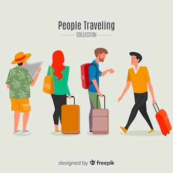 Hand getrokken reiziger collectie