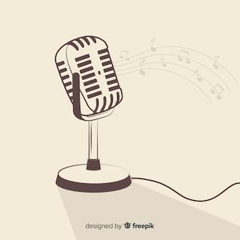 Hand getrokken retro microfoon