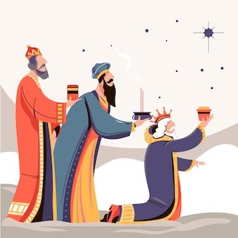 Hand getrokken reyes magos geïllustreerd