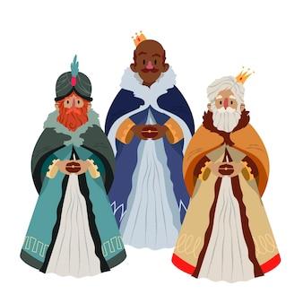 Hand getrokken reyes magos met kronen